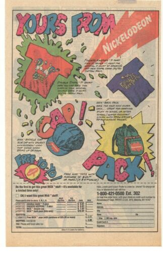 1988 Nickelodeon Merchandise Advertisement