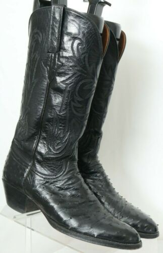 Lucchese, 90833, Black, Full, Quill, Ostrich, Western, Cowboy, Boots, USA, Mens, US, 9, B