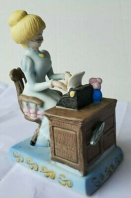 Lovely Music box with Old Fashioned Secretary & Typewriter Bisque Ceramic Figure