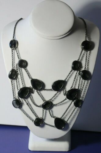 Spider Web Halloween Necklace w/Smokey Black Facet Geometric Shaped Jeweled