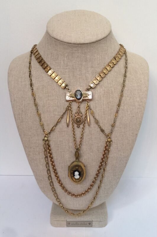 Antique OOAK Victorian Gold Filled Double Cameo Locket Chandelier Chain Necklace