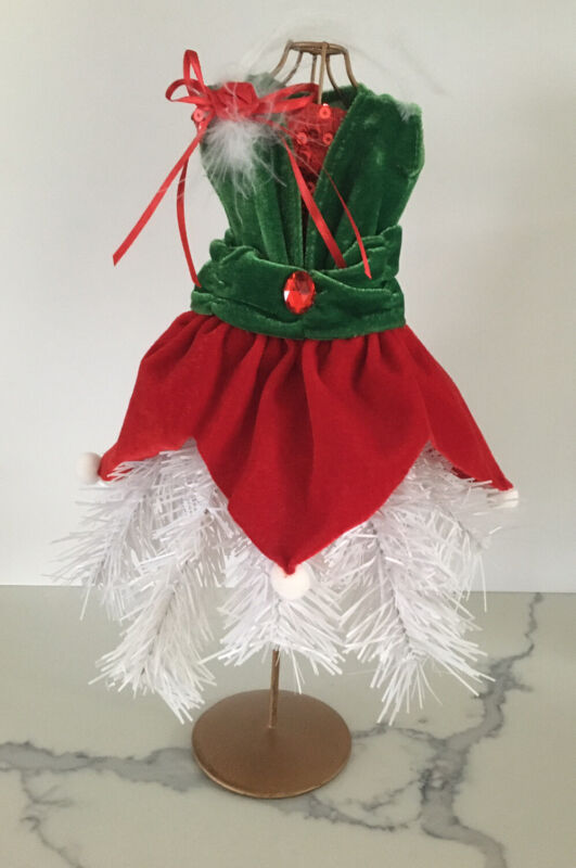 Boutique Dress Form Mannequin Tabletop Christmas Tree, Elf, Mrs. Claus Green Red