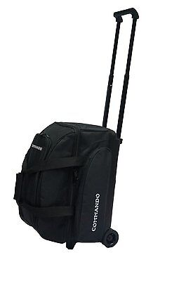 THE COMMANDO 2 BALL / DOUBLE ROLLER BOWLING BAG in SOLID BLACK ~ BRAND NEW