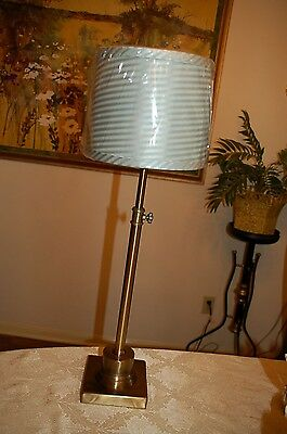 "ADJUSTABLE HEIGHT brushed soft brass table lamp 28 - 32"" Choice of two shades!!"