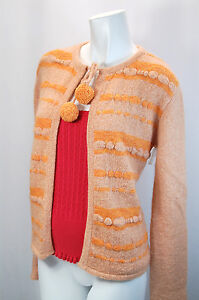 Ladies Women Orange Retro Vintage Design Wool Long Sleeves Cardigan M 12