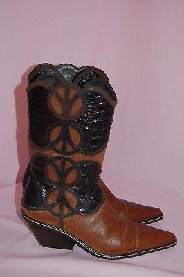 Peace Sign Boots (DONALD J PLINER 6.5M Leather Peace Sign JAJA Brown/Tan Cowboy)