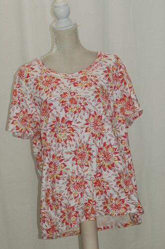 CHARTER CLUB WOMAN COTTON TOP GLAMOUR PINK COMBO 3X