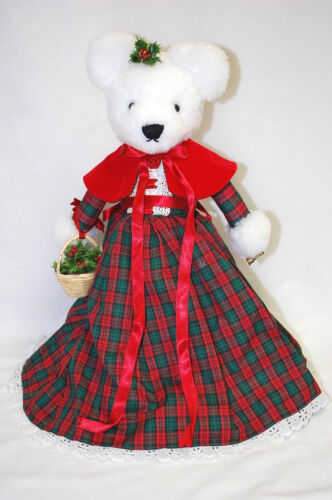 "Handmade WHITE CHRISTMAS MRS. TEDDY BEAR 15"" Tall With Metal Stand (#X1101)"