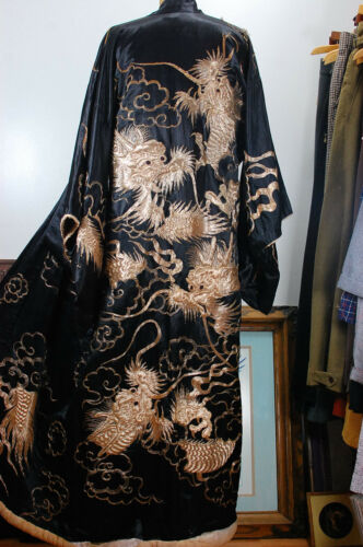 Antique 1800s Silk Hand Stitched Dragon Japanese Black Gold Kimono Wedding Dress