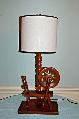 Early American Maple wood Colonial Yarn Spinning Wheel Table Top Lamp with Shade for sale  Houston