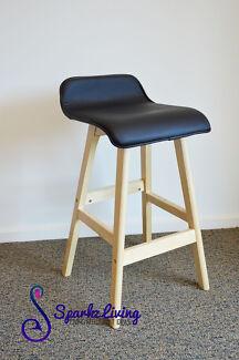 74cm Height PU Leather Seat Plywood Leg Black Bar Stool Barstool