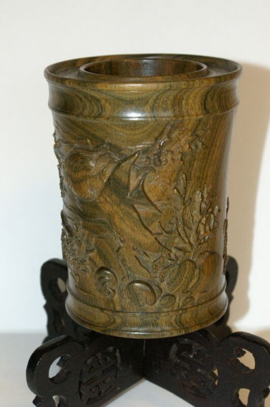 Vintage Beautifully Carved Brush Pot/Pen Holder