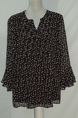 Charter Club Floral-Print Ruffle-Sleeve Top Deep Black Combo XL Floral Print Ruffle Top