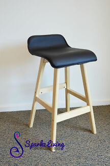 74cm Height PU Leather Seat Plywood Leg Black Bar Stool Barstool