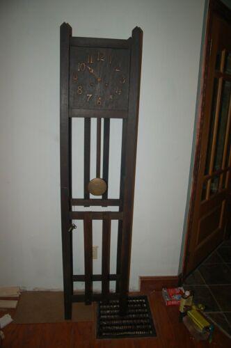 Antique Oak Grandfather Clock Mission Arts Crafts 100% ORIGINAL GREAT DEAL,,,,,,