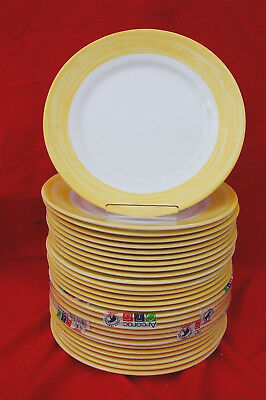 Arcoroc Brush Yellow 10 Dinner Plates Yellow And White Lot Of 28 C1028