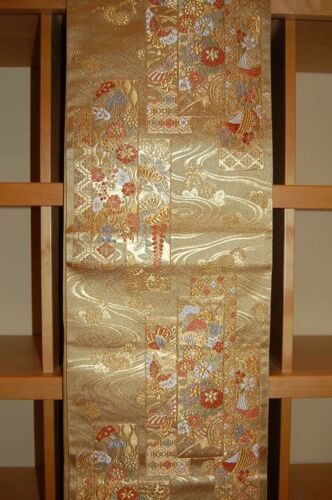 Vintage Heavy Silk Embroidered Maru Obi