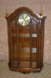 Unusual Country French Style Large Wall Clock w/Lighted Curio Display Cabinet