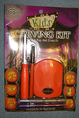 Halloween Pumpkin Carving Kit 6 Stencil Patters 3 Tools JACK-O-LANTERN  9 Piece  - Halloween Pumpkin Carvings Stencils