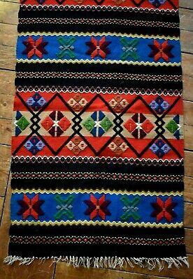 "Japanese TABLE RUNNER Woven Silk Textile Fabric Modern Black Red 51/"" x 12 1//2/"""