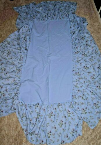 Beautiful Bella Notte 100% Linen Crib Bed Skirt Dust Ruffle Floral Periwinkle