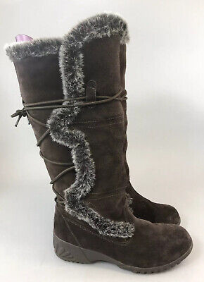 Khombu Waterproof Brown Leather Suede Knee High Lace Wedge Fur Boots Size UK5 M