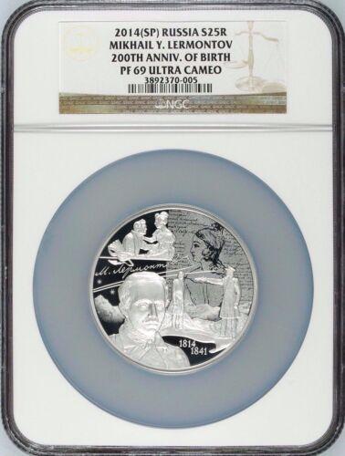 2014 Russia 25 Rouble Silver Mikhail Lermontov 200th Anniv. of Birth NGC PF69