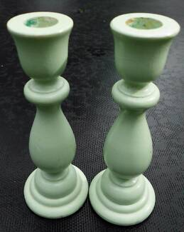Set of 2 WOODEN CANDLE STICKS SHABBY Retro VINTAGE Painted Cheltenham Hornsby Area Preview