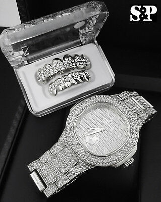 MEN HIP HOP FASHION SILVER LAB DIAMOND WATCH & ICED GRILLZ COMBO GIFT SET