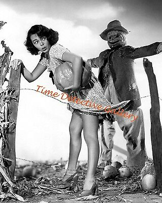 Halloween Pin-up Girl with a Scarecrow - Vintage Photo Print - Halloween Pin Up Girl Photos