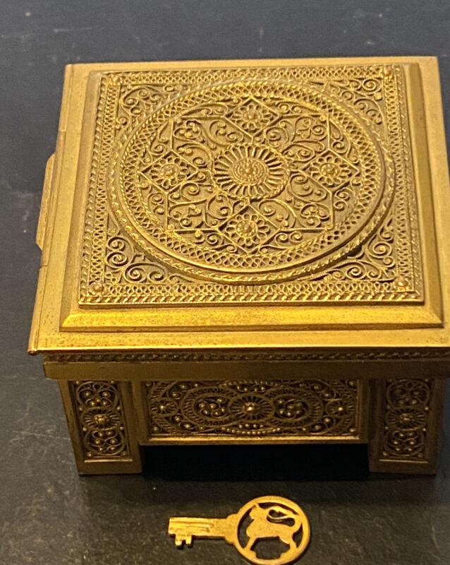 Antique Erhard & Sohne Germany Jugendstil Gilt Box LION on E w Orig Lion Key Leo