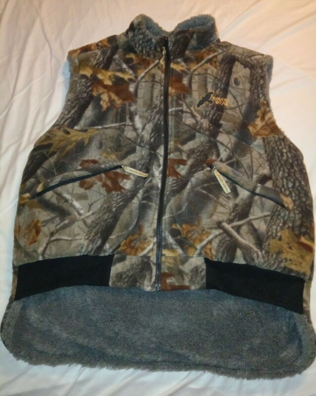 Raven Wear Heavy Fleece Camo Hunting Vest Large Full Zipper Inside Pocket
