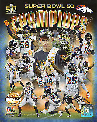 - DENVER BRONCOS 2016 Super Bowl 50 Champions 8X10 Team Composite Photo Gold #/