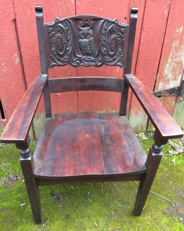 Great Antique Owl Carved Professor Reading Chair Shipping Ok