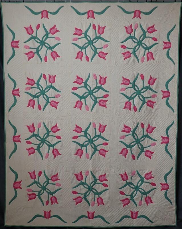 FINE Handquilting! Vintage Applique Pink Intertwining Tulip QUILT 91x72