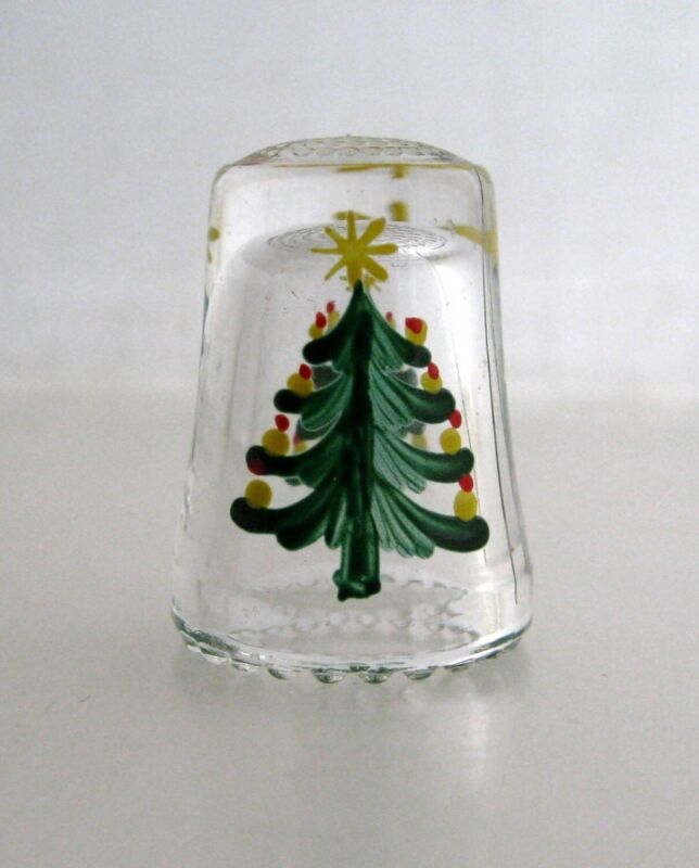 Vintage Thimble Christmas Tree Hand Painted Glass 2 Sided Design Scalloped Edge