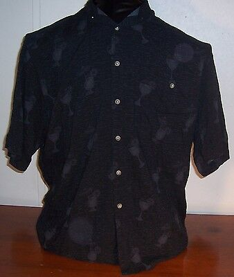 Pierre Cardin Men Boys Black Hawaiian Casual Rayon Short Sleeve Shirt Large