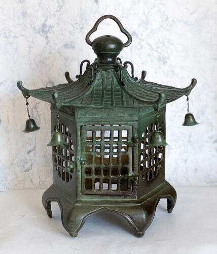 Toro Japanese Bronze Hanging Lantern Takaoka Craft Hexagon Check pattern Japan