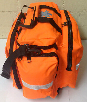 Medical Emergency Ems Emt Paramedic Trauma Bag W Reflectors Orange Neon R-003 No