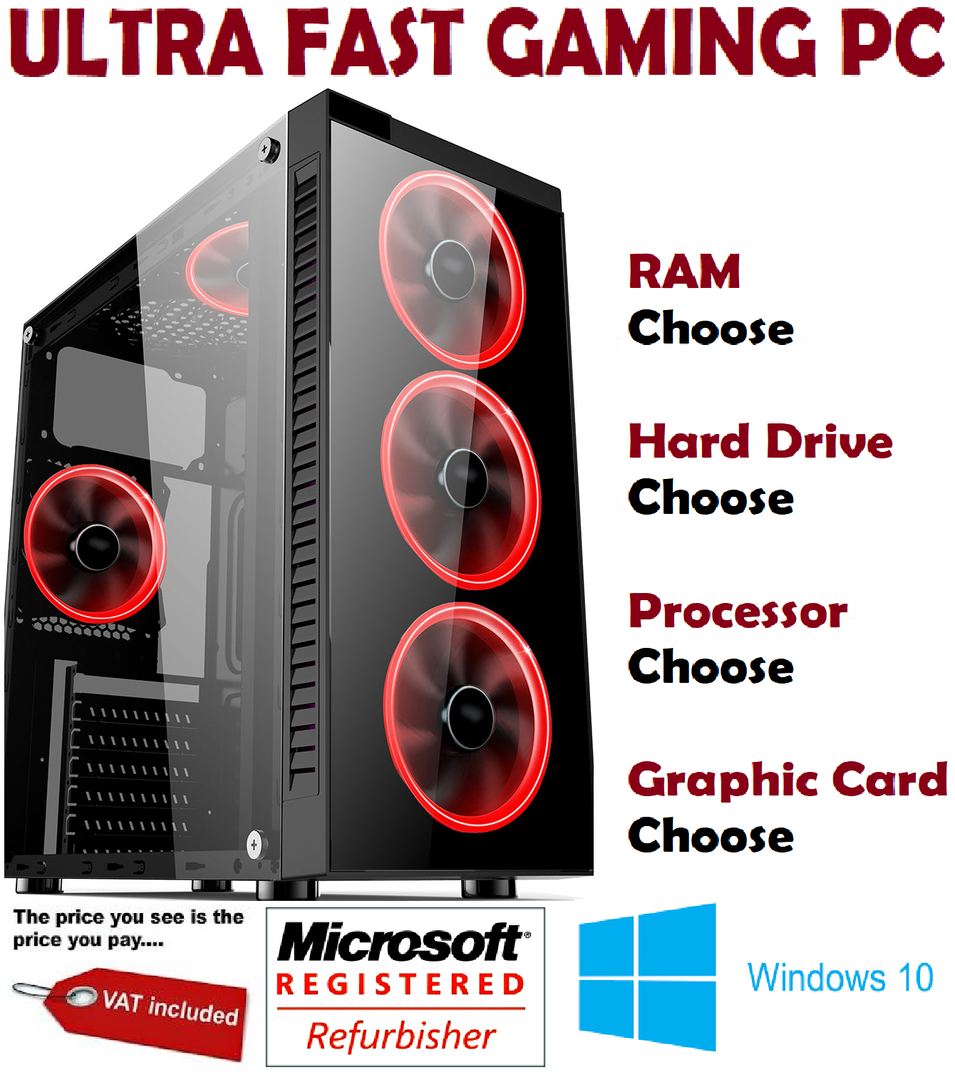 Computer Games - ULTRA FAST i5 i7 Desktop Gaming Computer PC SSD 2TB 16GB RAM GTX 1660 Windows 10