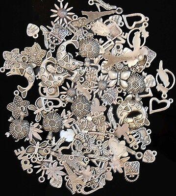 50 Mixed Tibetan Silver Pendant Charms Flower Heart Birds Butterflies FREE POST