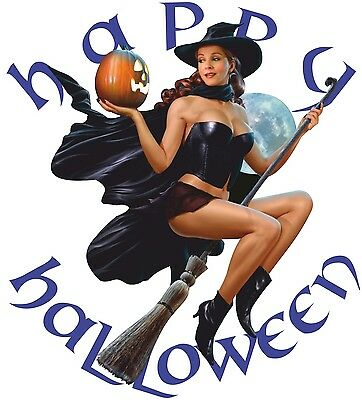 SEXY PIN UP GIRL WITCH T SHIRT HAPPY HALLOWEEN PUMPKIN BROOMSTICK FLYING WITCHES