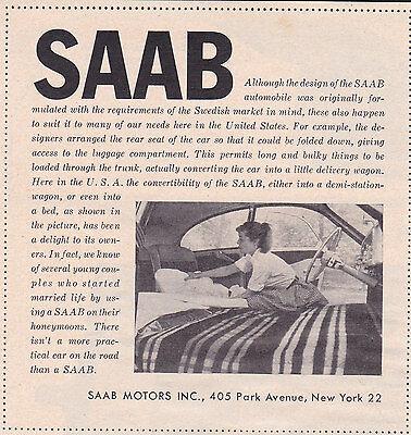 1959 SAAB  ~  VINTAGE ORIGINAL SMALLER PRINT AD