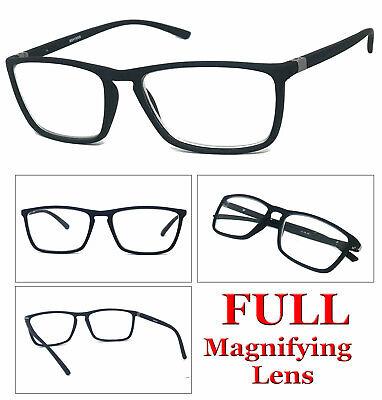1 or 2 Pair Mens Fashion Rectangular Rubberized Frame Full Lens Reading (Fashionable Mens Reading Glasses)