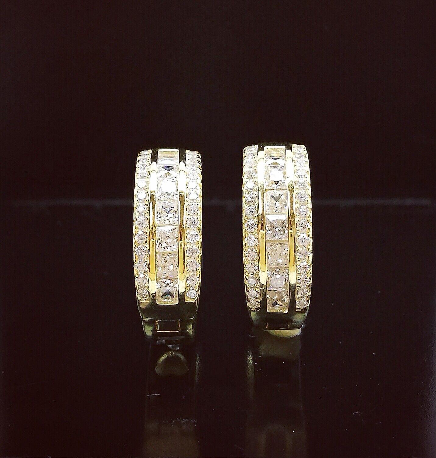 1 Ct Diamond Hoop Earrings Women Hoop Earrings 14K White Yellow Gold over 5