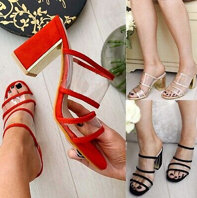LADIES WOMENS LOW BLOCK HEEL CLEAR GLASS PARTY PERSPEX WEDDING SANDALS SHOES SZ