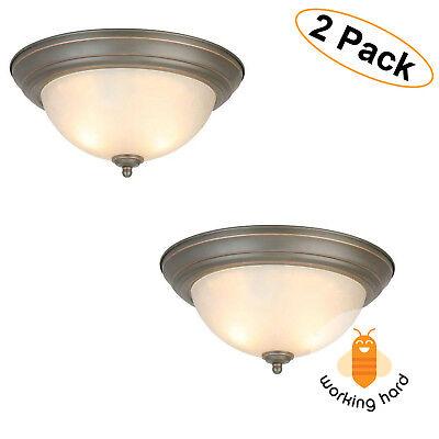 2 LIGHT FLUSH MOUNT LIGHTING FIXTURE Ceiling Lamp Decor Oil Rubbed Bronze 2 PACK
