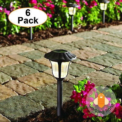 SOLAR LED PATHWAY LIGHTS Walkway Lamp Garden Outdoor Night Lantern Bronze 6 Pack