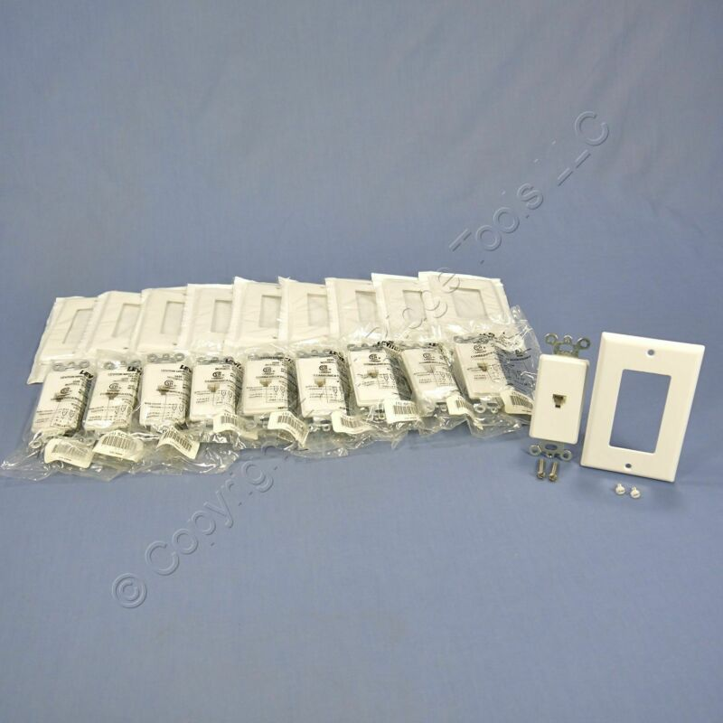 10 Leviton White Decora Phone Jack Telephone Wallplates 6P4C Type 625 40649-W