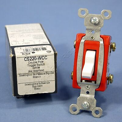 New Pass Seymour White Commercial 2-pole Toggle Light Switch 20a Cs220-w Boxed